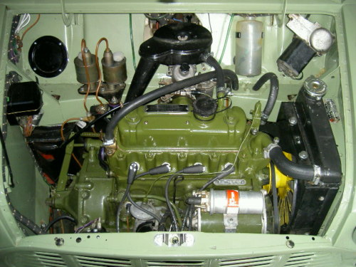1963 austin mini van engine bay