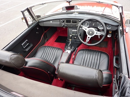 1975 mgb roadster 5 tartan red interior
