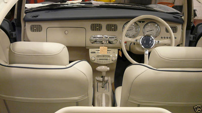 1991 nissan figaro grey white interior